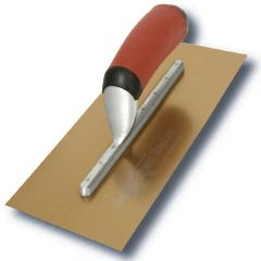 "Marshalltown Duraflex Trowel Golden Stainless Steel (Long Mounting) 14"" x 5"" - DuraSoft Handle - M4683DFDL"
