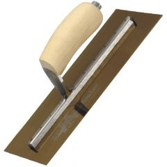 "Marshalltown Finishing Trowel 13""x 5"" - Gold Stainless Steel - Shaped Wooden Handle - MXS13GS"