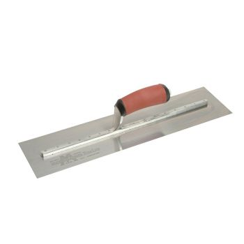 """Marshalltown Stainless Steel Finishing Trowel 18"""" x 4½"""" - Curved Durasoft Handle - MXS77DSS"""