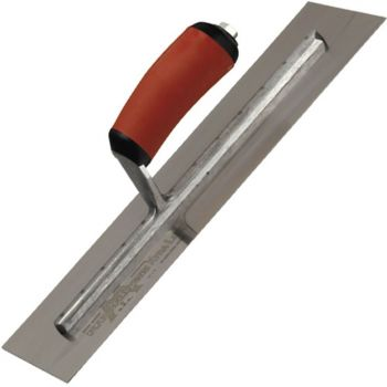 "Marshalltown Finishing Trowel 18"" x 4"" - Spring Steel Blade - Curved Durasoft Handle - MXS81D"