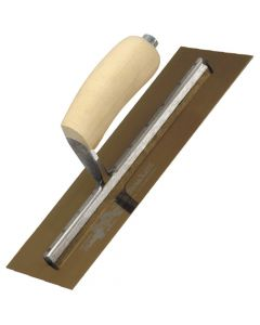 "Marshalltown Finishing Trowel 20"" x 5"" - Gold Stainless Steel - Shaped Wooden Handle - MXS205GS"