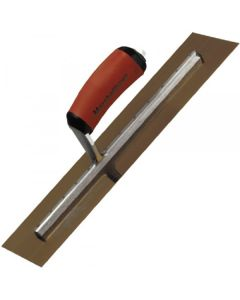 "Marshalltown Finishing Trowel 14"" x 4"" - Gold Stainless Steel - Curved Durasoft Handle - MXS64GSD"